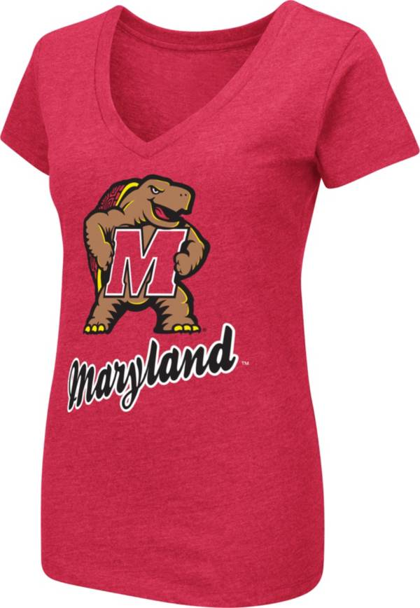 Colosseum Women's Maryland Terrapins Red Dual Blend V-Neck T-Shirt product image