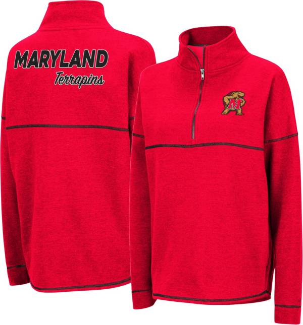 Colosseum Womens Maryland Terrapins Poly Pull-Over Funnel Neck Sweatshirt