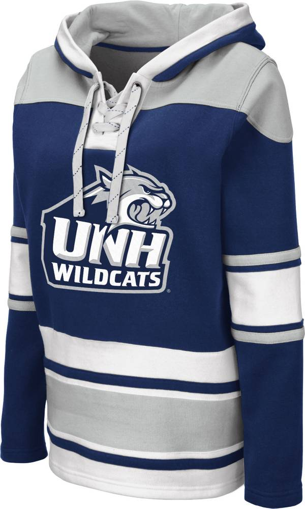 Colosseum Women's New Hampshire Wildcats Blue Choo Hockey Pullover Hoodie product image