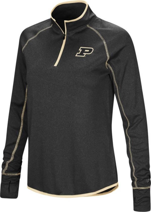 Colosseum Women's Purdue Boilermakers Stingray Quarter-Zip Black Shirt product image