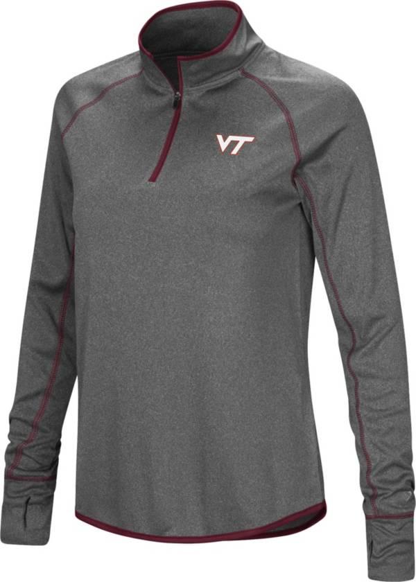 Colosseum Women's Virginia Tech Hokies Grey Stingray Quarter-Zip Shirt product image