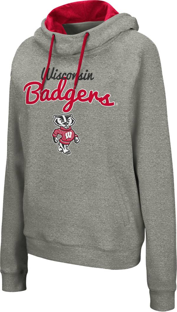 Colosseum Women's Wisconsin Badgers Grey Studio Funnel Pullover Hoodie product image