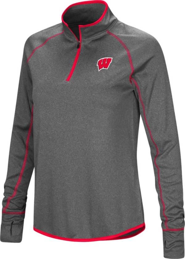Colosseum Women's Wisconsin Badgers Grey Stingray Quarter-Zip Shirt product image