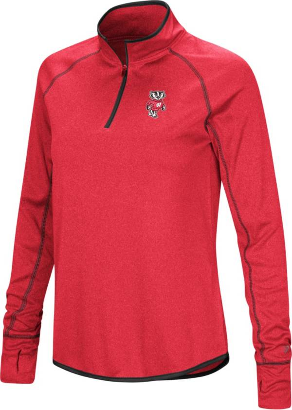 Colosseum Women's Wisconsin Badgers Red Stingray Quarter-Zip Pullover Shirt product image