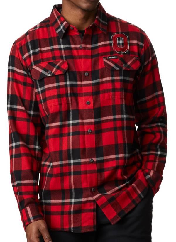 Columbia Men's Ohio State Buckeyes Gray Plaid Flare Gun Flannel Long Sleeve Shirt product image