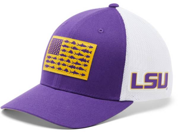 Columbia Men's LSU Tigers Purple PFG Flag Mesh Fitted Hat product image