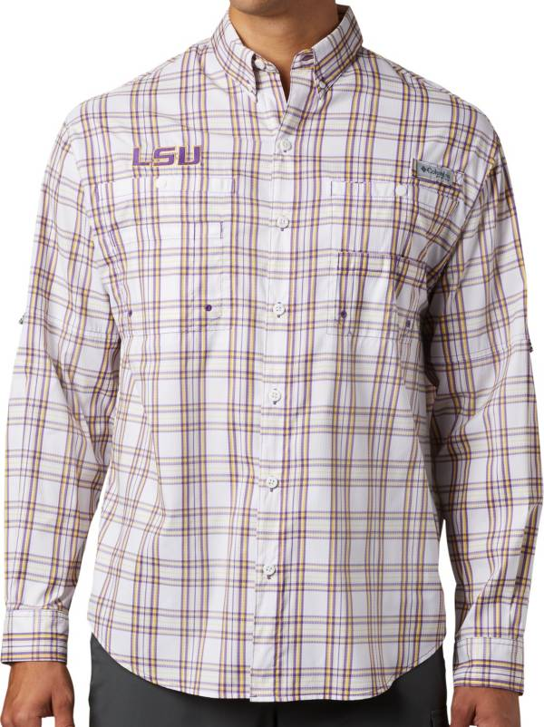 Columbia Men's LSU Tigers Tamiami Long Sleeve White Shirt product image