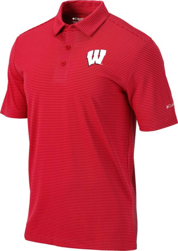 Columbia Men's Wisconsin Badgers Red One Swing Performance Polo product image