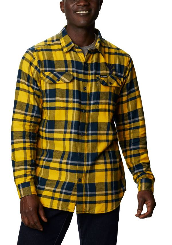 Columbia Men's West Virginia Mountaineers Blue Plaid Flare Gun Flannel Long Sleeve Shirt product image