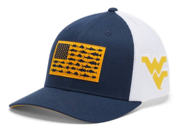Columbia Men's West Virginia Mountaineers Blue PFG Flag Mesh Fitted Hat product image