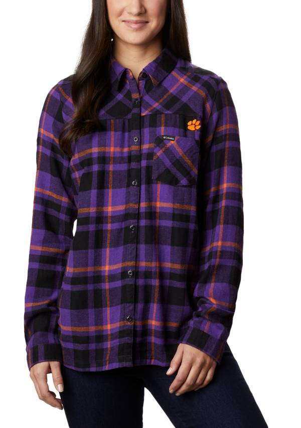 Columbia Women's Clemson Tigers Regalia Plaid Flare Gun Flannel Long Sleeve Shirt product image