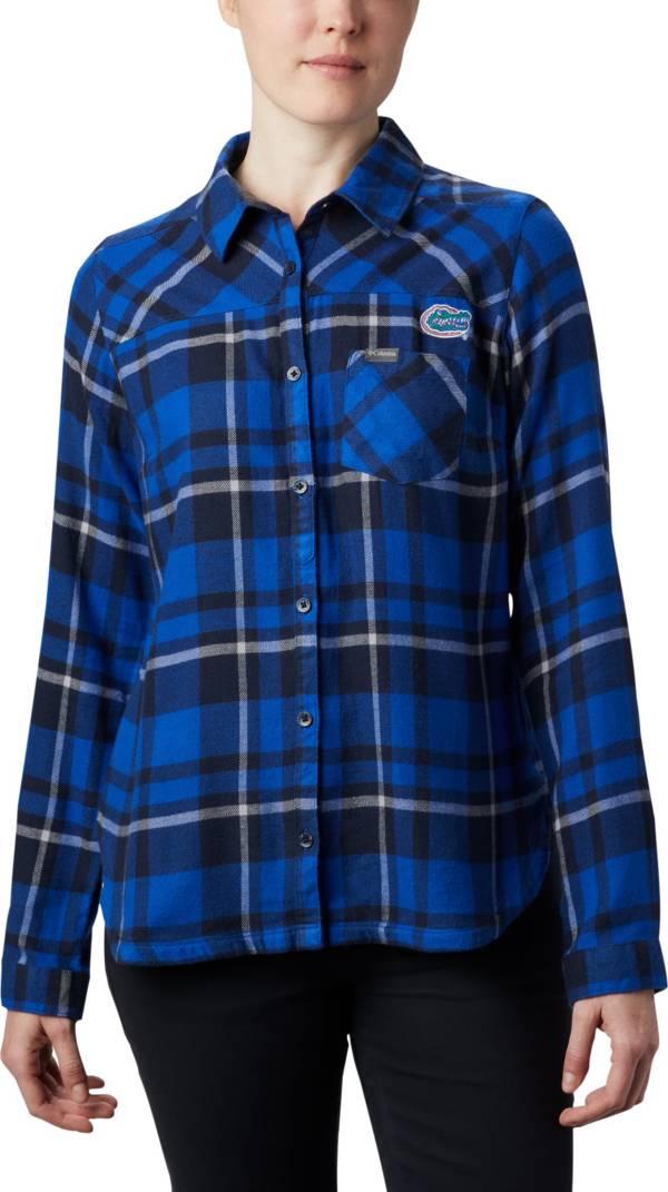 Columbia Women's Florida Gators Blue Plaid Flare Gun Flannel Long Sleeve Button Down Shirt product image