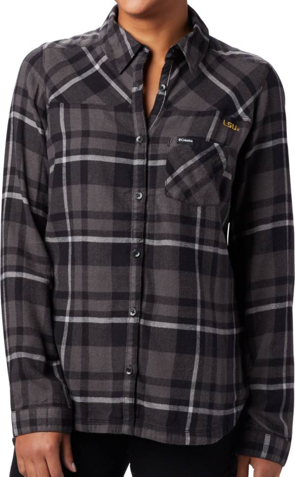 Columbia Women's LSU Tigers Plaid Flare Gun Flannel Long Sleeve Button Down Black Shirt product image