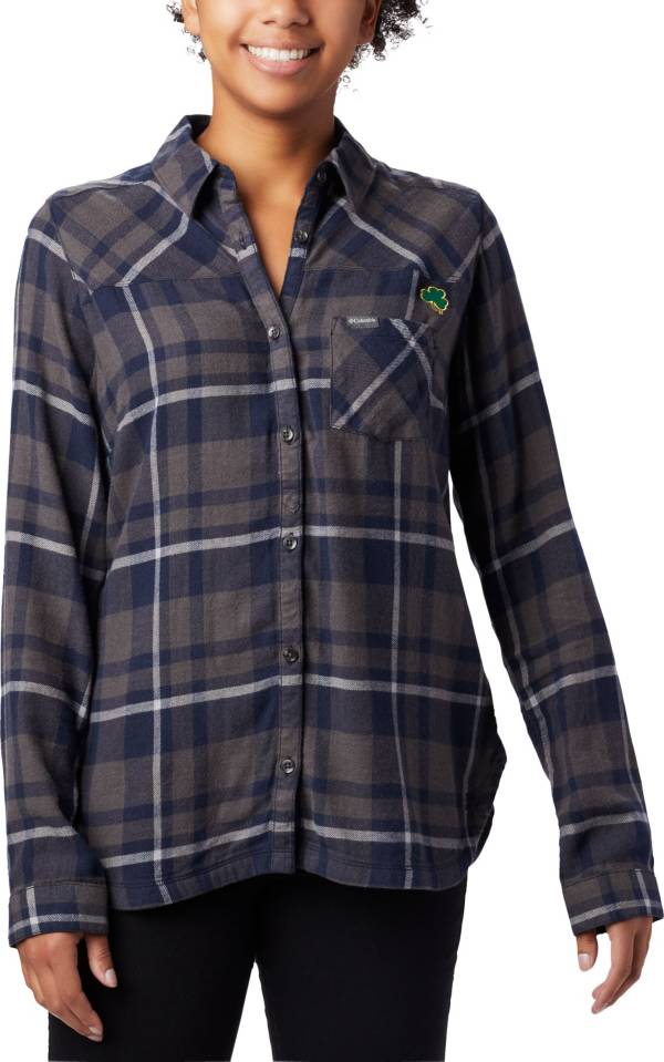Columbia Women's Notre Dame Fighting Irish Navy Plaid Flare Gun Flannel Long Sleeve Button Down Shirt product image