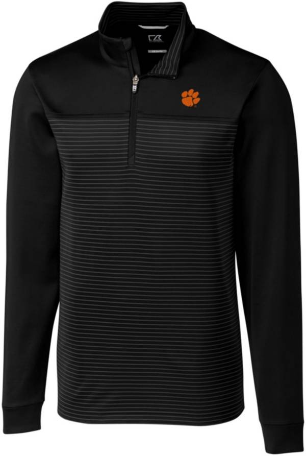 Cutter & Buck Men's Clemson Tigers Traverse Stripe Black Half-Zip Pullover Shirt product image