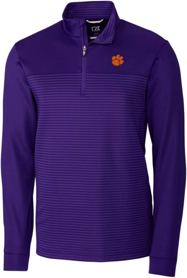Cutter & Buck Men's Clemson Tigers Regalia Traverse Stripe Half-Zip Pullover Shirt product image