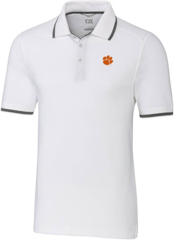 Cutter & Buck Men's Clemson Tigers Advantage Tipped White Polo product image