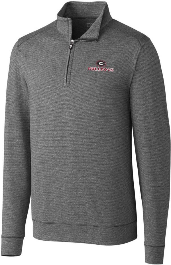 Cutter & Buck Men's Georgia Bulldogs Grey Shoreline Half-Zip Pullover Shirt product image