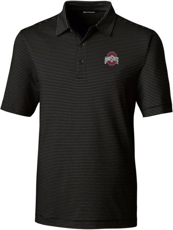 Cutter & Buck Men's Ohio State Buckeyes Forge Pencil Stripe Black Polo product image