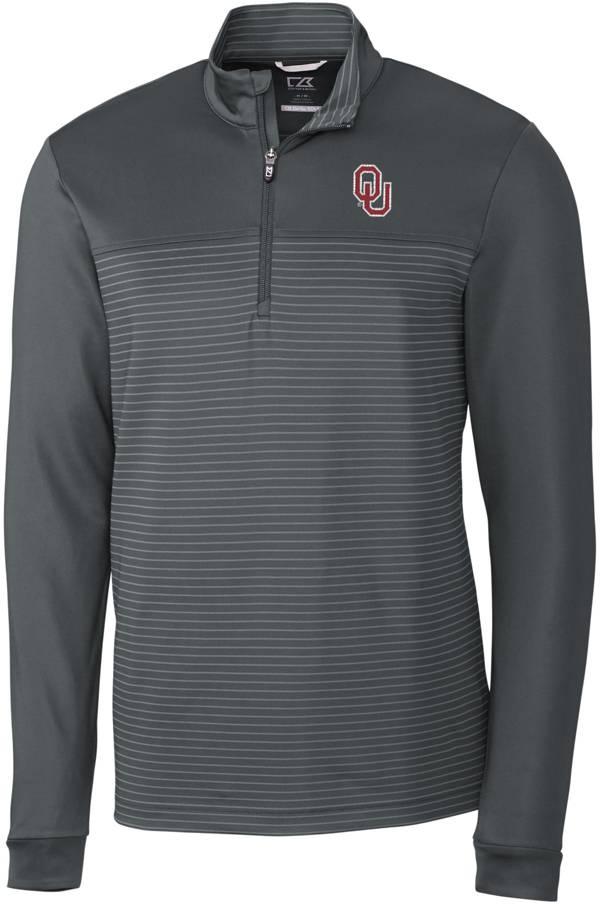 Cutter & Buck Men's Oklahoma Sooners Grey Traverse Stripe Half-Zip Pullover Shirt product image