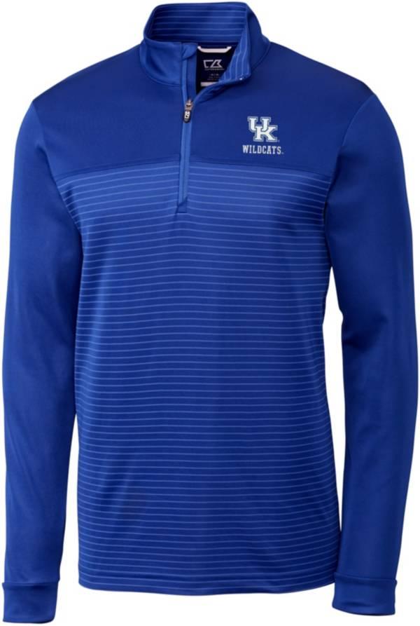 Cutter & Buck Men's Kentucky Wildcats Blue Traverse Stripe Half-Zip Pullover Shirt product image