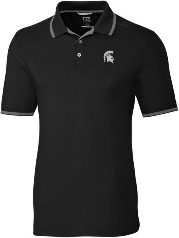 Cutter & Buck Men's Michigan State Spartans Advantage Tipped Black Polo product image