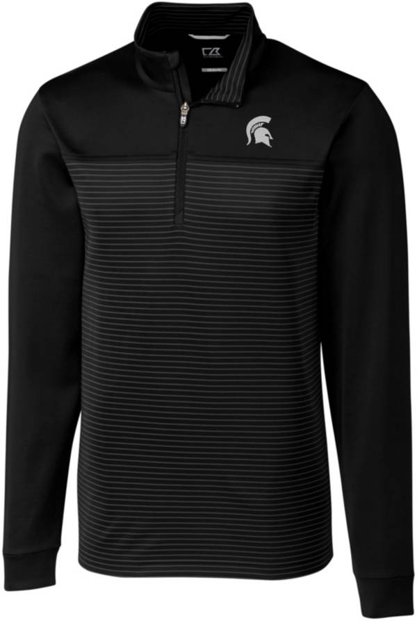 Cutter & Buck Men's Michigan State Spartans Traverse Stripe Black Half-Zip Pullover Shirt product image