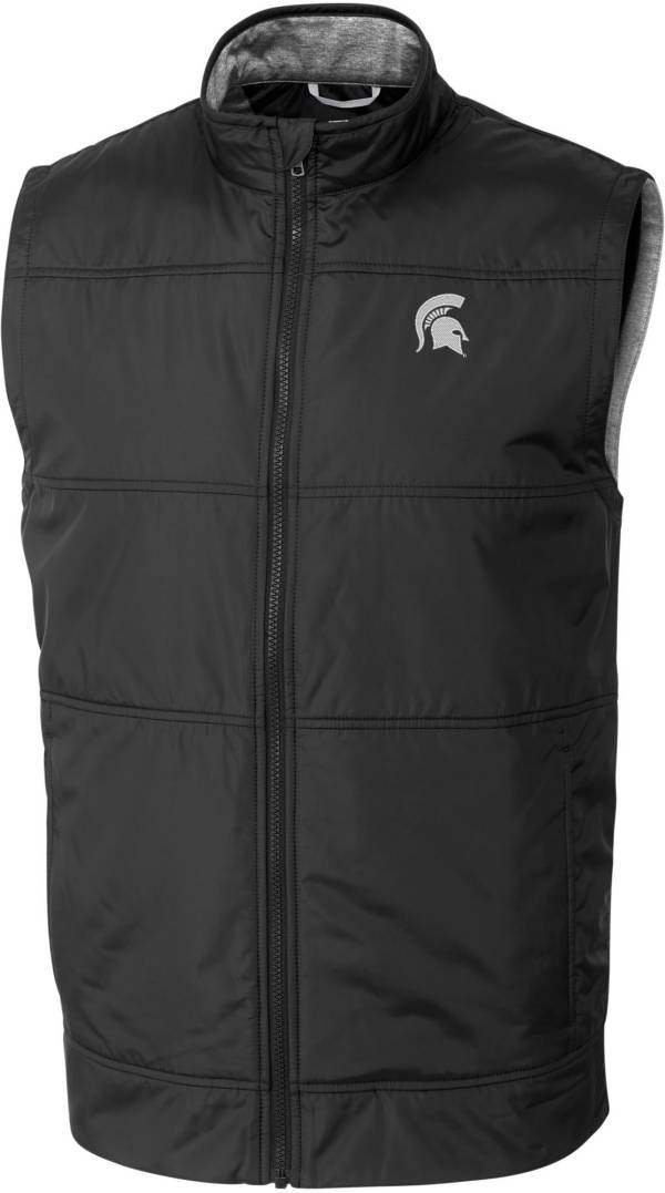 Cutter & Buck Men's Michigan State Spartans Stealth Full-Zip Black Vest product image