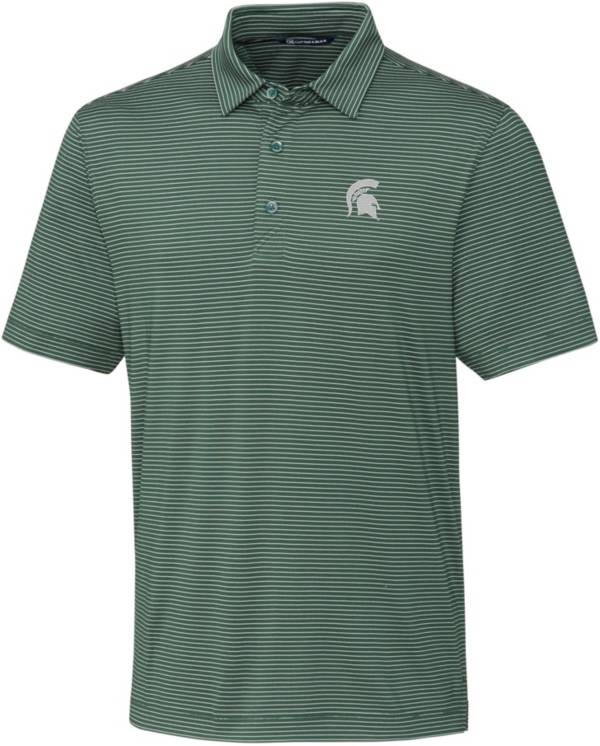 Cutter & Buck Men's Michigan State Spartans Green Forge Pencil Stripe Polo product image