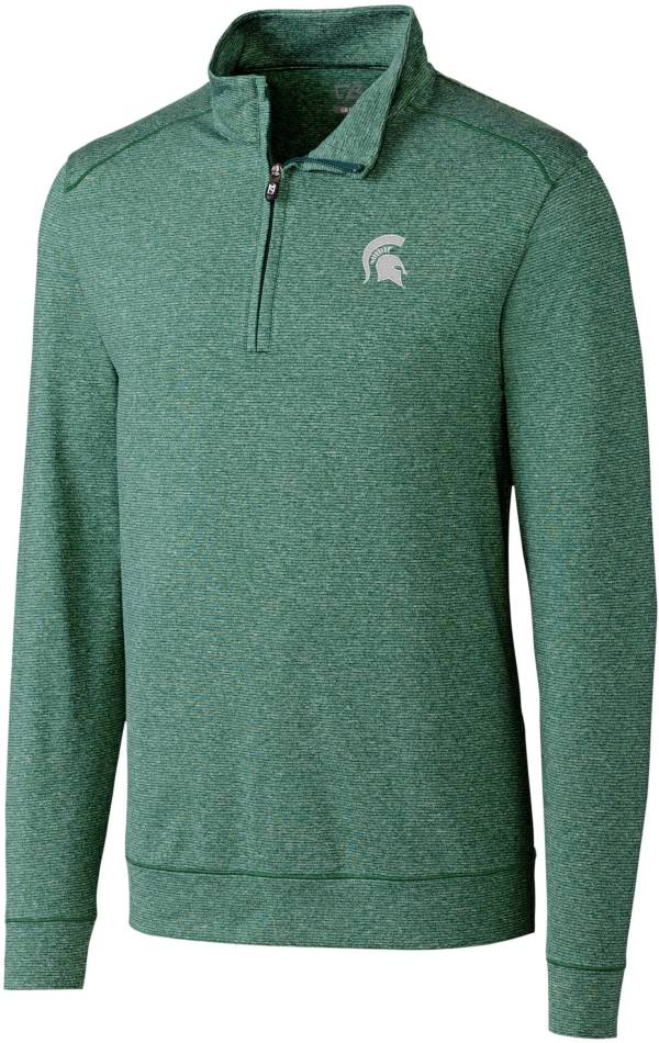 Cutter & Buck Men's Michigan State Spartans Green Shoreline Half-Zip Pullover Shirt product image
