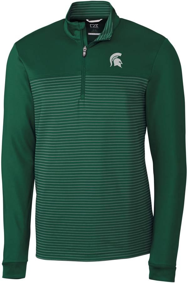 Cutter & Buck Men's Michigan State Spartans Green Traverse Stripe Half-Zip Pullover Shirt product image