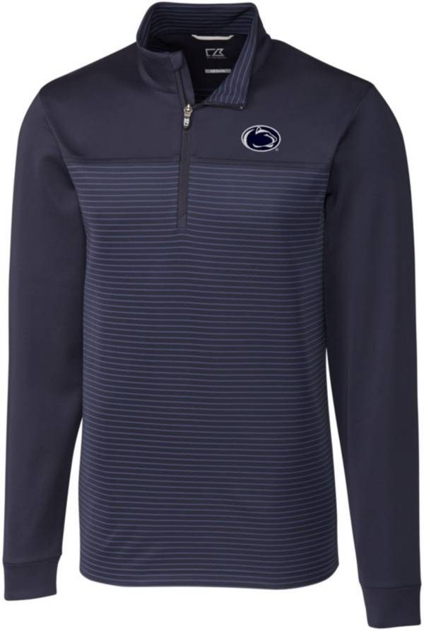 Cutter & Buck Men's Penn State Nittany Lions Blue Traverse Stripe Half-Zip Pullover Shirt product image