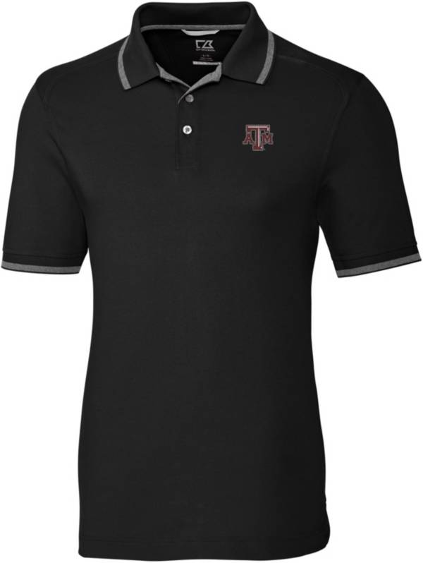 Cutter & Buck Men's Texas A&M Aggies Advantage Tipped Black Polo product image