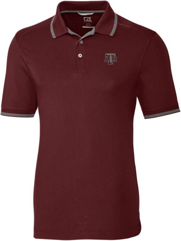 Cutter & Buck Men's Texas A&M Aggies Maroon Advantage Tipped Polo product image
