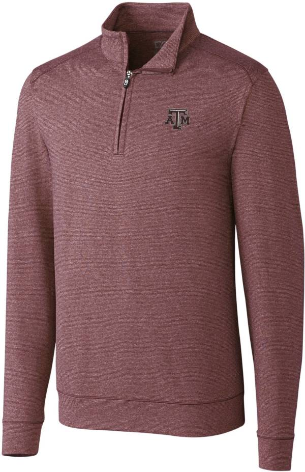 Cutter & Buck Men's Texas A&M Aggies Maroon Shoreline Half-Zip Pullover Shirt product image