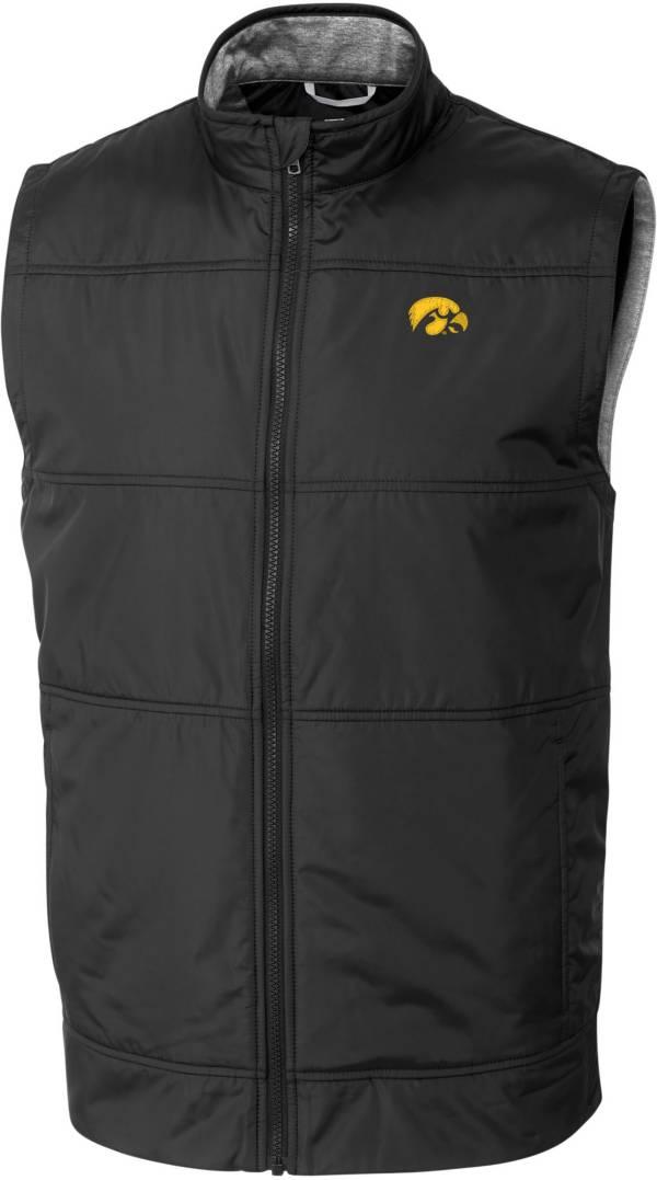 Cutter & Buck Men's Iowa Hawkeyes Stealth Full-Zip Black Vest product image
