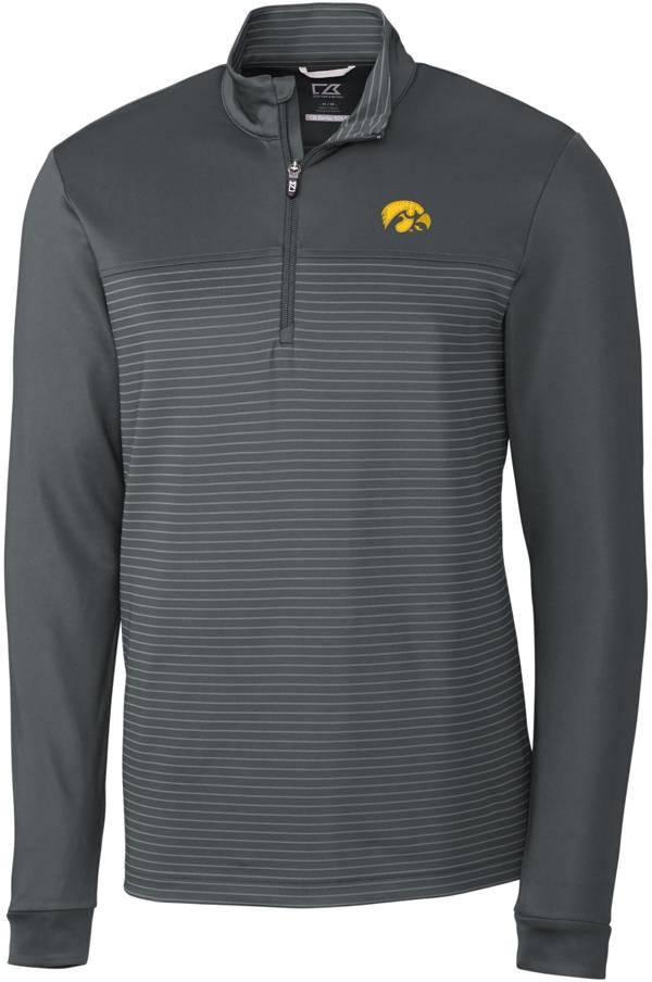Cutter & Buck Men's Iowa Hawkeyes Grey Traverse Stripe Half-Zip Pullover Shirt product image