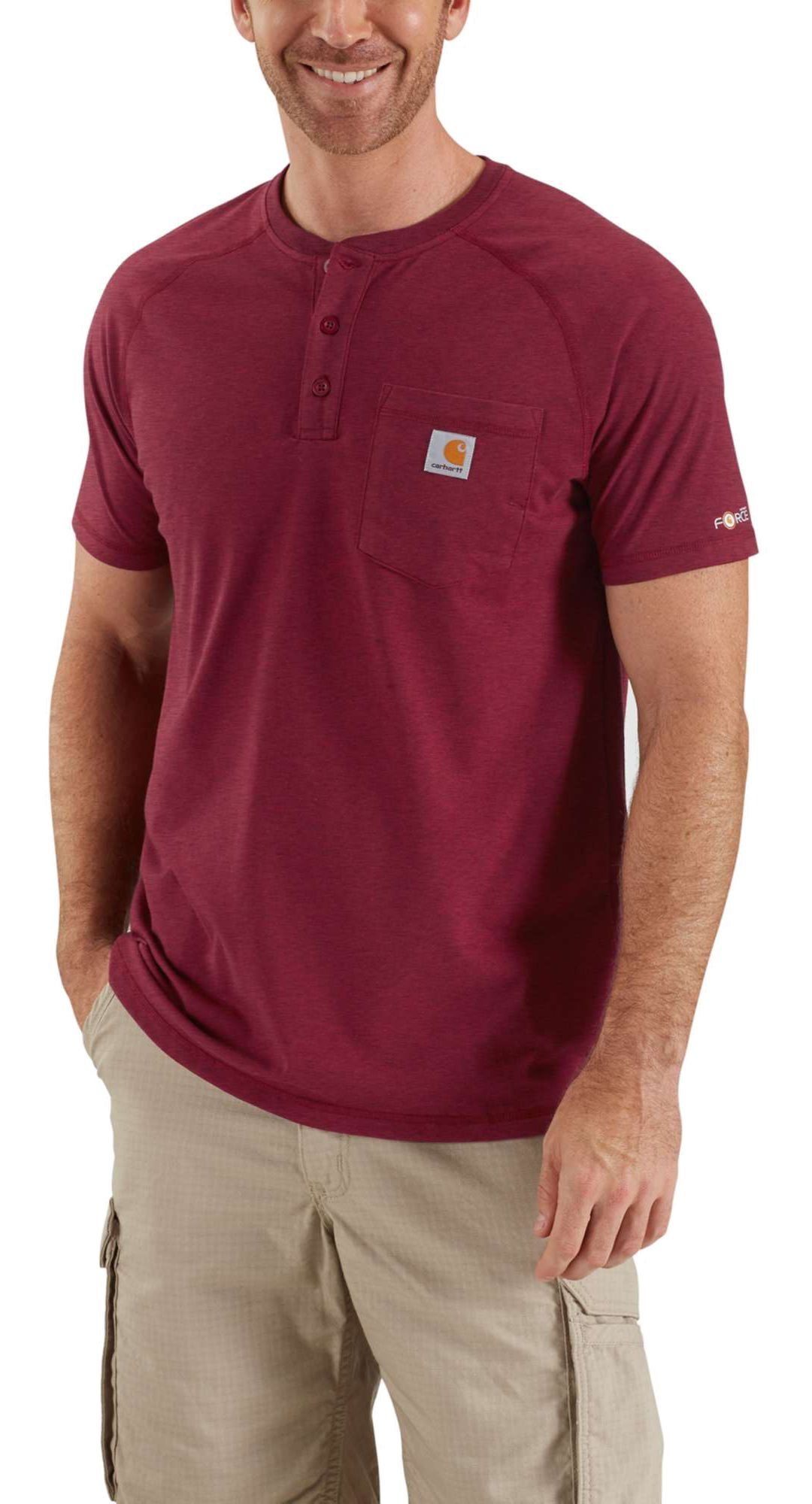772b46cd Carhartt Men's Force Cotton Delmont Short Sleeve Henley Shirt.  noImageFound. Previous