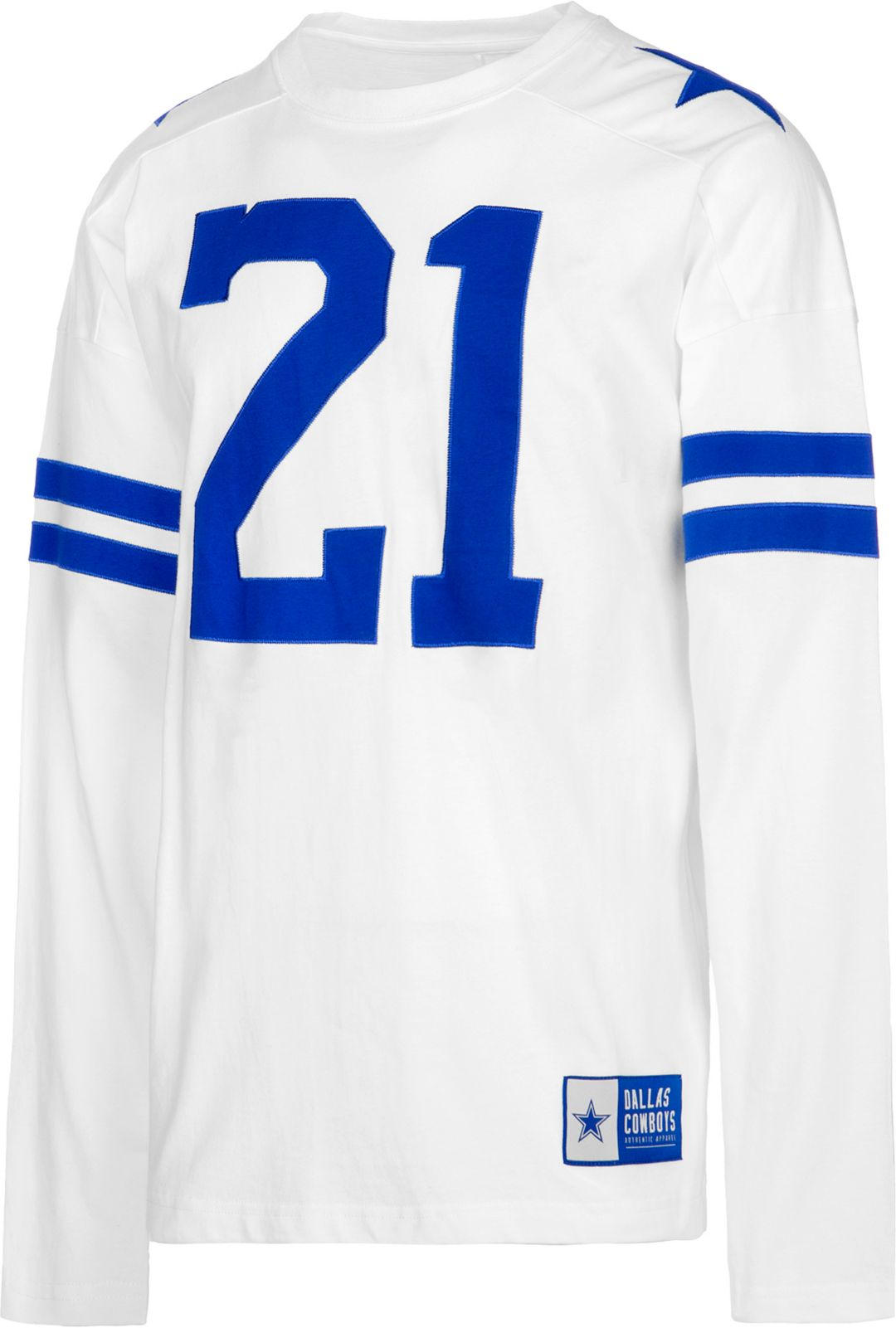 reputable site 6de22 fe1f0 Dallas Cowboys Merchandising Men's Ezekiel Elliott #21 Retro Long Sleeve  White Shirt