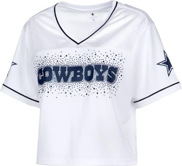 Dallas Cowboys Merchandising Women's Rhinestone Crop Top White Jersey product image