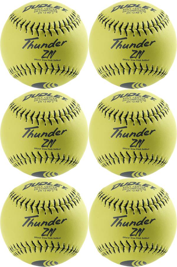 """Dudley 12"""" USSSA Thunder ZN Slow Pitch Softballs - 6 Pack product image"""