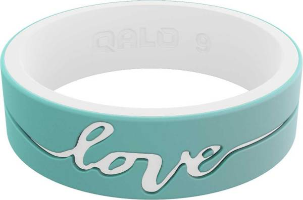 QALO Women's Strata Mint and White Love Silicone Ring product image