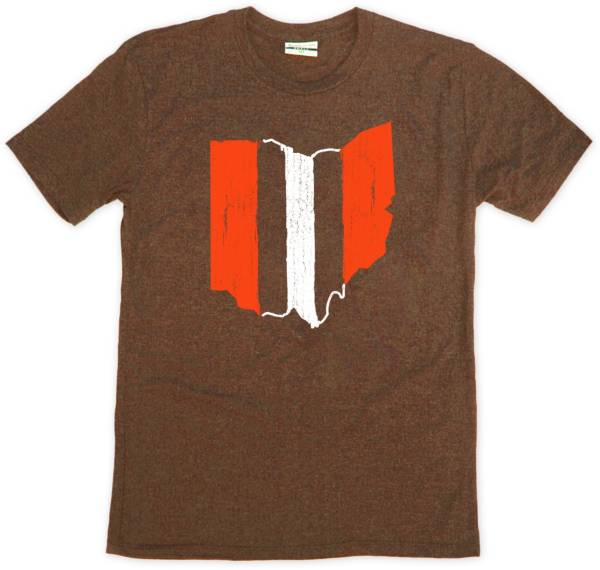 Where I'm From Men's Ohio Stripe Brown Tri-Blend T-Shirt product image