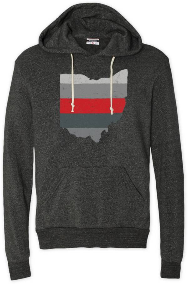 Where I'm From Men's Ohio Stripe State Black Heathered Pullover Sweatshirt product image