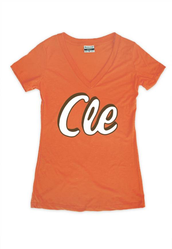 Where I'm From Women's CLE Orange Tri-Blend V-Neck T-Shirt product image