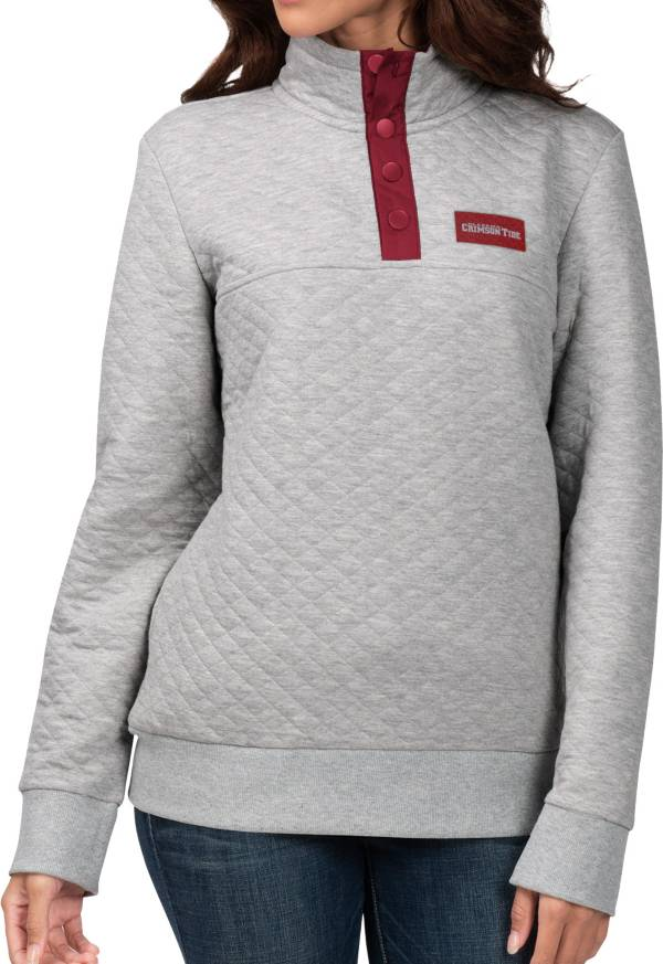 G-III For Her Women's Alabama Crimson Tide Grey First Hit Quarter-Button Pullover Top product image