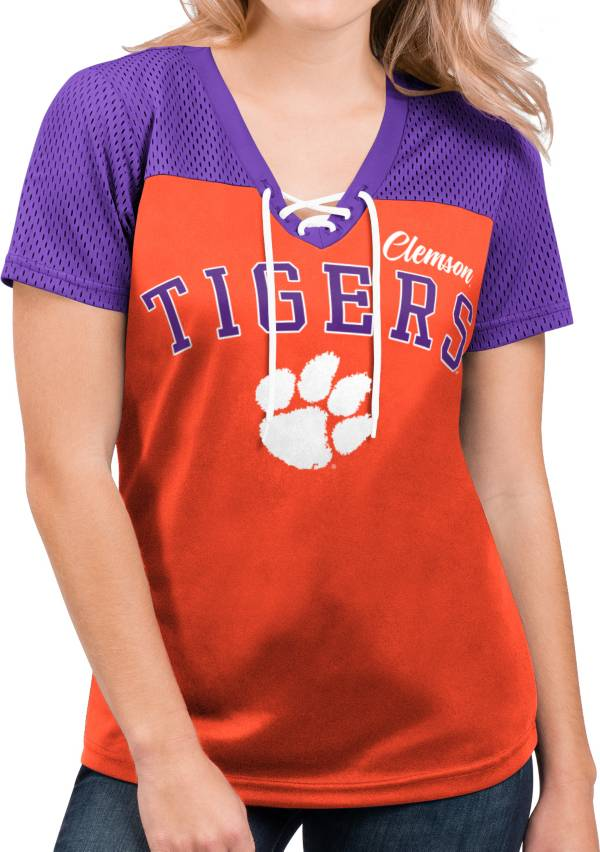 G-III For Her Women's Clemson Tigers Orange Shuffle Lace V-Neck T-Shirt product image