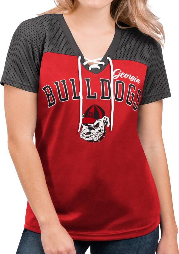 G-III For Her Women's Georgia Bulldogs Red Shuffle Lace V-Neck T-Shirt product image