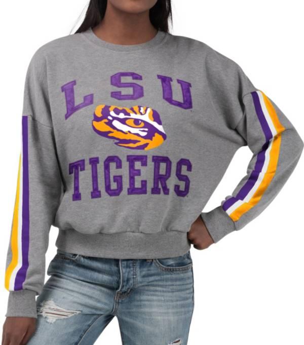 G-III For Her Women's LSU Tigers Grey Freshman Crew Neck Sweatshirt product image