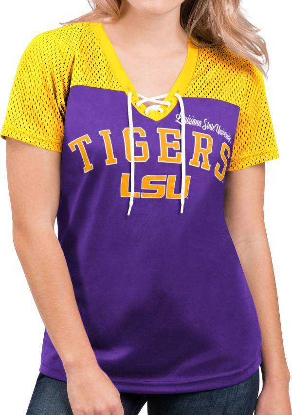 G-III For Her Women's LSU Tigers Purple Shuffle Lace V-Neck T-Shirt product image